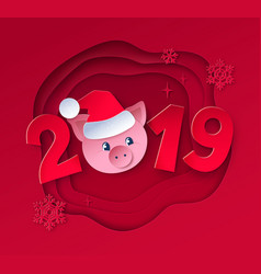 new year with cute pig vector image