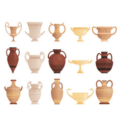 old ancient vessel clay jug cups and amphoras vector image