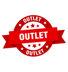 Outlet ribbon outlet round red sign outlet vector