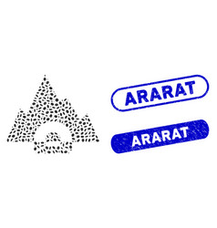 Oval mosaic mountain tunnel with scratched ararat vector