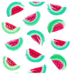 Painted watermelon pattern vector