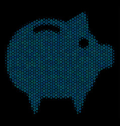 Piggy bank composition icon of halftone spheres vector