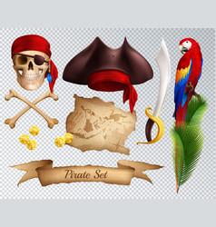 pirate realistic transparent set vector image
