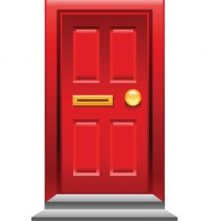 Red door icon vector