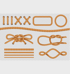 rope elements marine cord borders nautical ropes vector image