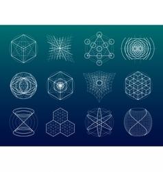 Sacred geometry symbols and elements set vector