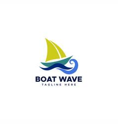Sailboat wave logo vector