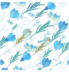 seamless floral pattern with crocus flowers vector image