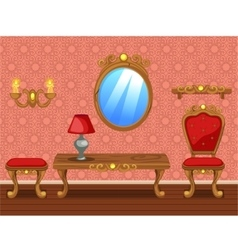 Set cartoon funny wooden Retro furniture vector image