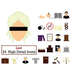 set of 24 law icons vector image