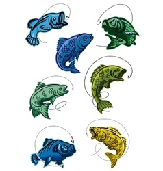 Set of deep-sea fish leaping on a hook vector image