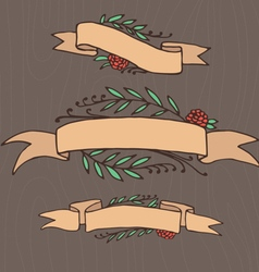 Set of doodle ornate floral ribbons vector image