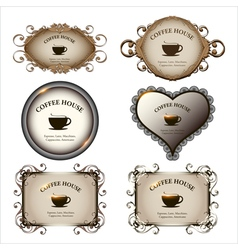 Set of retro labels vintage design for restaurant vector image