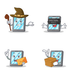 Set of tablet character with witch virtual vector