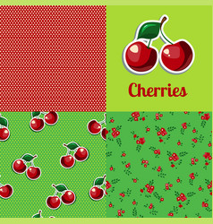 set seamless texture cherry vector image