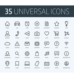 set universal thin line icons for print or web vector image