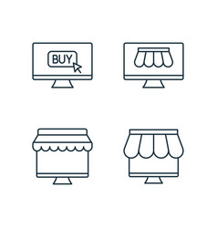 Shopping by online market line icons set on white vector