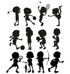 Silhouette kids playing sports vector