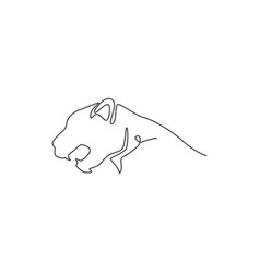 single continuous line drawing strong cheetah vector image