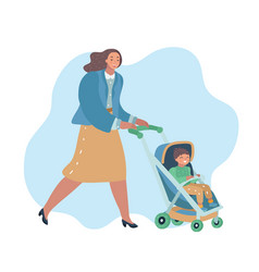 Smiling woman walking outdoor with baby stroller vector