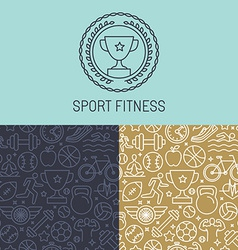 sport badge and seamless pattern vector image