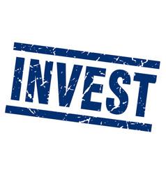 square grunge blue invest stamp vector image