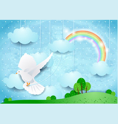 Surreal landscape with dove and hanging clouds vector