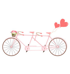 Tandem bicycle with basket fully of rose flowers vector