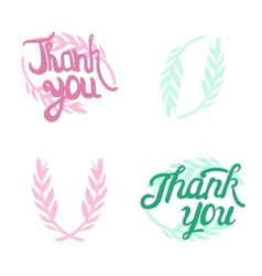 Thank you hand lettered signs with olive vector image