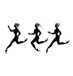 Three stylized girls in ancient greek style vector