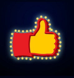 thumb up sign with glowing lights like symbol of vector image