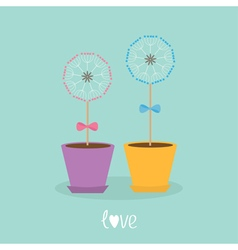 Two dandelion blowball flower set with hearts in vector
