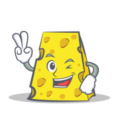 Two finger cheese character cartoon style vector