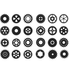 various black gear machinery in flat vector image