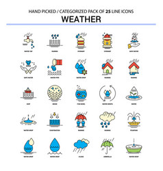 Weather flat line icon set - business concept vector