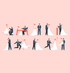wedding couple marriage bride and groom vector image