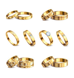 wedding rings realistic set vector image