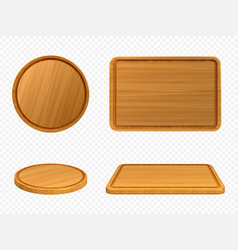 Wooden pizza and cutting boards top or front view vector