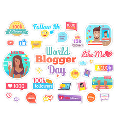 World blogger day with 100 followers on white vector