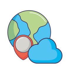 World planet cloud computing pointer location vector