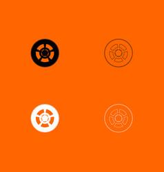 car wheel black and white set icon vector image
