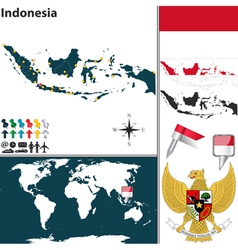 Indonesia map world vector image vector image
