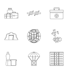 Left country icons set outline style vector image vector image