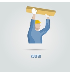 Roofer with wood icon vector image vector image