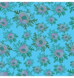 Seamless pattern with anemones in blue color vector image vector image