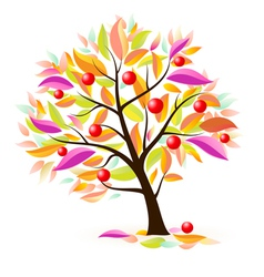 stylized apple tree vector image vector image