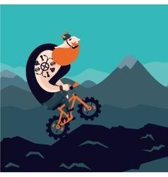 Mountain bike Big man cycling Cartoon vector image
