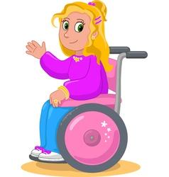 Pretty girl on wheelchair vector image