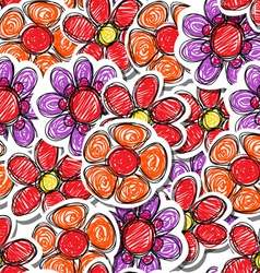 Red hand-drawn flowers vector image vector image