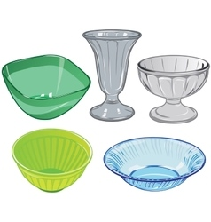Set of glassware and glass vase and plastic salad vector image